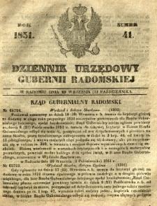 Dziennik Urzędowy Gubernii Radomskiej, 1851, nr 41
