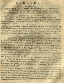 Dziennik Urzędowy Gubernii Radomskiej, 1851, nr 41, dod. III