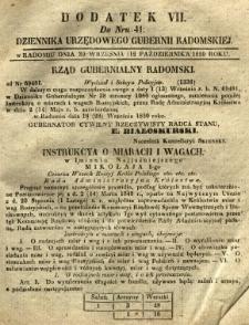 Dziennik Urzędowy Gubernii Radomskiej, 1851, nr 41, dod. VII