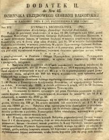 Dziennik Urzędowy Gubernii Radomskiej, 1851, nr 42, dod. II