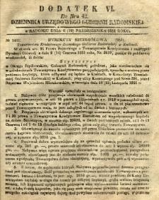 Dziennik Urzędowy Gubernii Radomskiej, 1851, nr 42, dod. VI