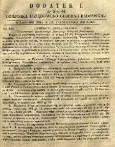 Dziennik Urzędowy Gubernii Radomskiej, 1851, nr 43, dod. I