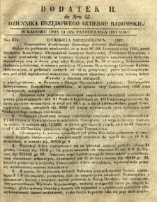 Dziennik Urzędowy Gubernii Radomskiej, 1851, nr 43, dod. II