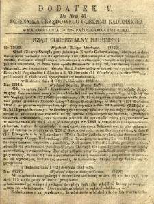 Dziennik Urzędowy Gubernii Radomskiej, 1851, nr 43, dod. V