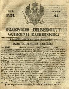 Dziennik Urzędowy Gubernii Radomskiej, 1851, nr 44