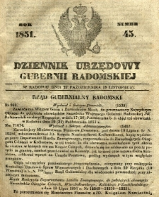 Dziennik Urzędowy Gubernii Radomskiej, 1851, nr 45