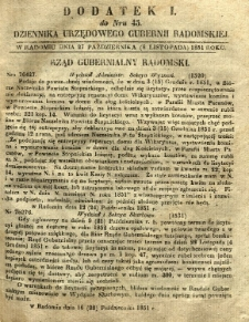 Dziennik Urzędowy Gubernii Radomskiej, 1851, nr 45, dod. I