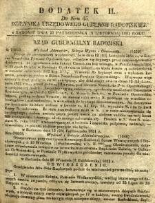 Dziennik Urzędowy Gubernii Radomskiej, 1851, nr 45, dod. II