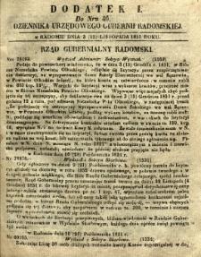Dziennik Urzędowy Gubernii Radomskiej, 1851, nr 46, dod. I