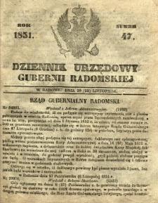 Dziennik Urzędowy Gubernii Radomskiej, 1851, nr 47