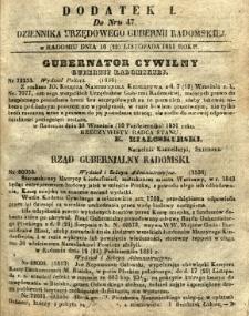 Dziennik Urzędowy Gubernii Radomskiej, 1851, nr 47, dod. I
