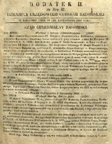 Dziennik Urzędowy Gubernii Radomskiej, 1851, nr 47, dod. II