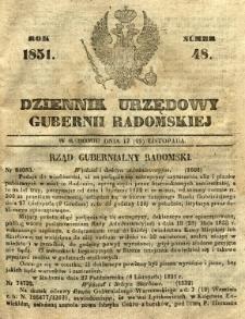 Dziennik Urzędowy Gubernii Radomskiej, 1851, nr 48