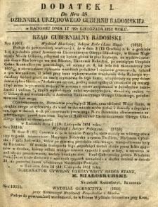 Dziennik Urzędowy Gubernii Radomskiej, 1851, nr 48, dod. I