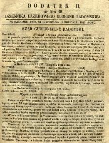 Dziennik Urzędowy Gubernii Radomskiej, 1851, nr 49, dod. II