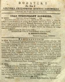 Dziennik Urzędowy Gubernii Radomskiej, 1854, nr 3, dod. I