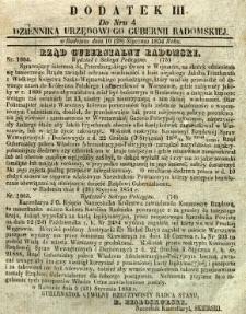 Dziennik Urzędowy Gubernii Radomskiej, 1854, nr 4, dod. III