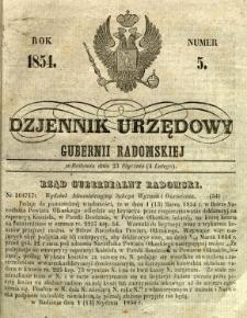 Dziennik Urzędowy Gubernii Radomskiej, 1854, nr 5