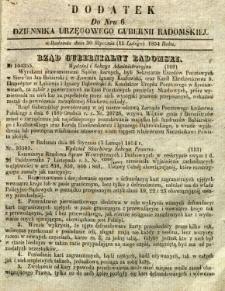 Dziennik Urzędowy Gubernii Radomskiej, 1854, nr 6, dod. I