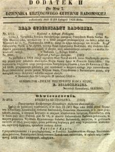 Dziennik Urzędowy Gubernii Radomskiej, 1854, nr 7, dod. II