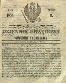 Dziennik Urzędowy Gubernii Radomskiej, 1854, nr 9
