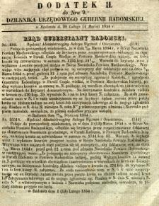 Dziennik Urzędowy Gubernii Radomskiej, 1854, nr 9, dod. II