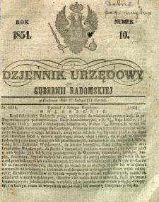 Dziennik Urzędowy Gubernii Radomskiej, 1854, nr 10