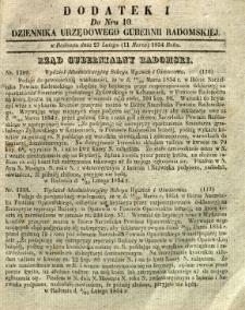 Dziennik Urzędowy Gubernii Radomskiej, 1854, nr 10, dod. I