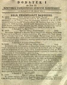 Dziennik Urzędowy Gubernii Radomskiej, 1854, nr 11, dod. I
