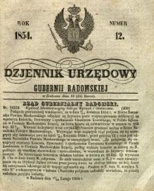 Dziennik Urzędowy Gubernii Radomskiej, 1854, nr 12