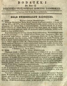 Dziennik Urzędowy Gubernii Radomskiej, 1854, nr 12, dod. I