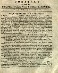 Dziennik Urzędowy Gubernii Radomskiej, 1854, nr 13, dod. I