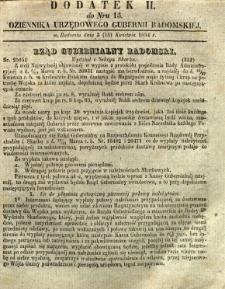 Dziennik Urzędowy Gubernii Radomskiej, 1854, nr 15, dod. II