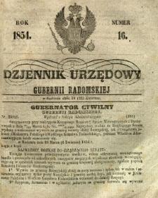 Dziennik Urzędowy Gubernii Radomskiej, 1854, nr 16