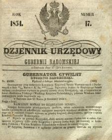 Dziennik Urzędowy Gubernii Radomskiej, 1854, nr 17