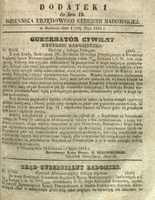 Dziennik Urzędowy Gubernii Radomskiej, 1854, nr 19, dod. I