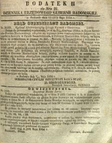Dziennik Urzędowy Gubernii Radomskiej, 1854, nr 21, dod. II