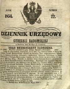 Dziennik Urzędowy Gubernii Radomskiej, 1854, nr 22