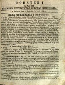 Dziennik Urzędowy Gubernii Radomskiej, 1854, nr 22, dod. I