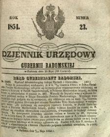 Dziennik Urzędowy Gubernii Radomskiej, 1854, nr 23