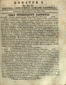 Dziennik Urzędowy Gubernii Radomskiej, 1854, nr 24, dod. I
