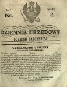 Dziennik Urzędowy Gubernii Radomskiej, 1854, nr 25