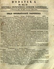 Dziennik Urzędowy Gubernii Radomskiej, 1854, nr 25, dod. I
