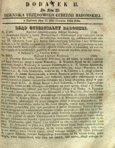 Dziennik Urzędowy Gubernii Radomskiej, 1854, nr 25, dod. II
