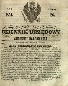 Dziennik Urzędowy Gubernii Radomskiej, 1854, nr 26