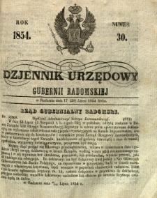 Dziennik Urzędowy Gubernii Radomskiej, 1854, nr 30