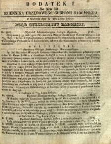Dziennik Urzędowy Gubernii Radomskiej, 1854, nr 30, dod. I