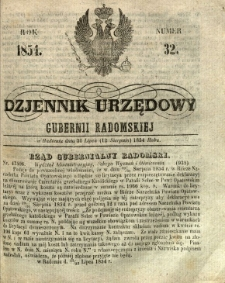 Dziennik Urzędowy Gubernii Radomskiej, 1854, nr 32