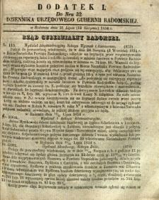 Dziennik Urzędowy Gubernii Radomskiej, 1854, nr 32, dod. I