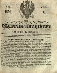 Dziennik Urzędowy Gubernii Radomskiej, 1854, nr 33